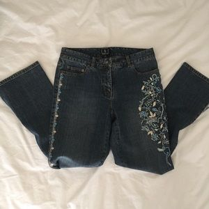 INC Beaded & Embroidered Boho Jeans Size 8P